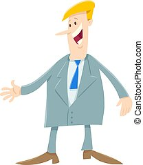 cartoon man or businessman in suit