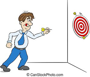 cartoon man playing dart