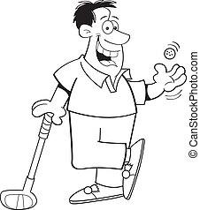 Cartoon Man Playing Golf (Black and