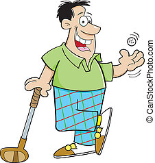 Cartoon Man Playing Golf