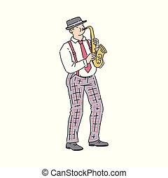 Cartoon man playing jazz music on saxophone - musician with brass instrument