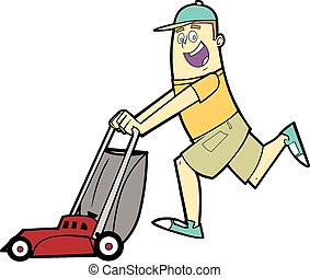 Cartoon Man Pushing a Lawnmower - This is a vector...