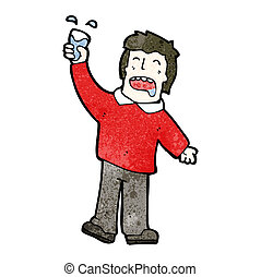 cartoon man raising a glass