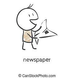 Cartoon man reading a newspaper