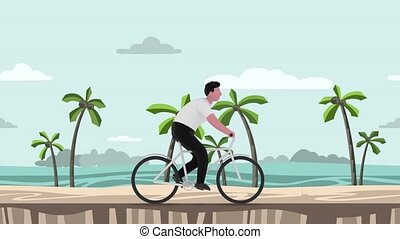 Cartoon man riding a bicycle on the sea and palms background. 3D rendering, motion graphic animation.
