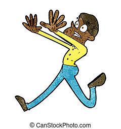 cartoon man running away vectors illustration search clipart rh canstockphoto com Cartoon People Running Away Cartoon People Running Scared
