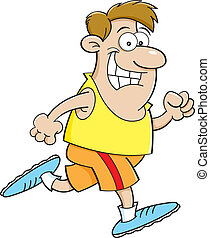 Cartoon man running - Cartoon illustration of a man running.