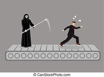 Cartoon Man Running on Treadmill Trying to Escape Death by Grim Reaper Vector Illustration