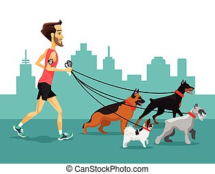 Cartoon man running with his dogs