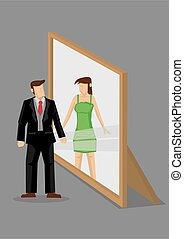 Cartoon Man Sees Himself as Woman in Mirror Reflection...