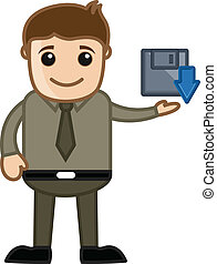 Cartoon Man Showing Download Icon