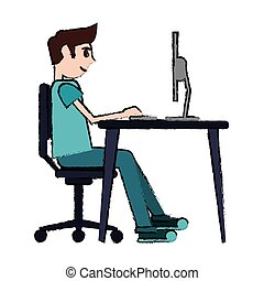 cartoon man sitting using laptop on desk design