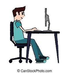 cartoon man sitting using laptop on desk design