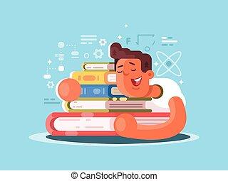 Cartoon man sleep on book