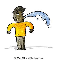 cartoon man spitting water