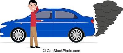 Cartoon man standing car with smoke exhaust pipe