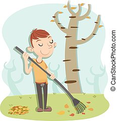 man sweeping leaves