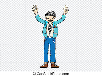 Cartoon man thinking style illustration