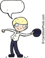 cartoon man tipping hat with speech bubble