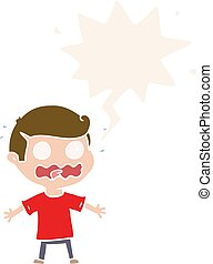 cartoon man totally stressed out and speech bubble in retro style