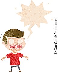 cartoon man totally stressed out and speech bubble in retro textured style