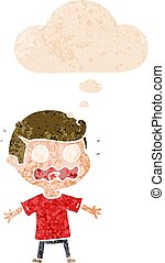cartoon man totally stressed out and thought bubble in retro textured style