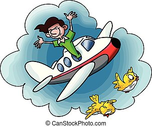 Cartoon man travelling by plane going on a vacation vector illustration