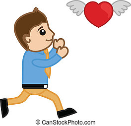 Cartoon Man Trying to Catch a Heart