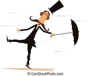 Cartoon man, umbrella and windy day isolated