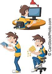 Cartoon man using computer