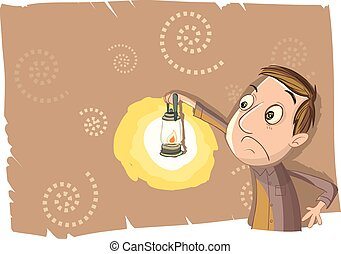 man using lantern in the dark