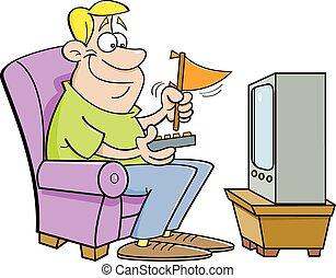 Cartoon man wathing television and