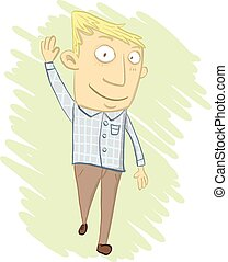 cartoon man waving