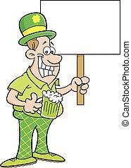 Cartoon Man Wearing a Derby and Hol
