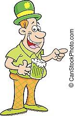 Cartoon Man Wearing a Derby