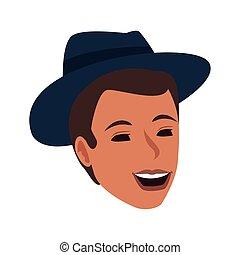 cartoon man wearing a hat icon