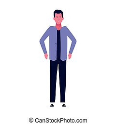 cartoon man wearing casual clothes icon