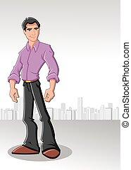 Cartoon man wearing purple shirt