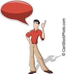 Cartoon man wearing red shirt talking with speech balloon
