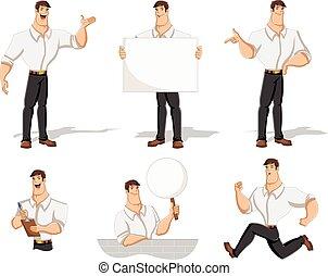 Cartoon man wearing