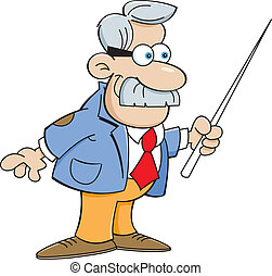 Cartoon man with a pointer - Cartoon illustration of a man...