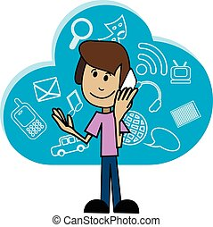 Cartoon man with a smartphone