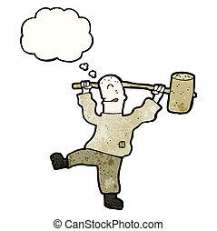 cartoon man with big hammer