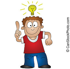 Cartoon man with bright idea isolated on white background
