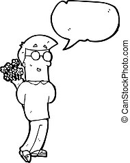 cartoon man with bunch of flowers