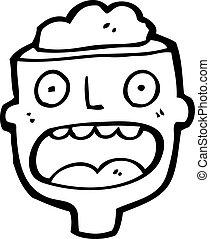 cartoon man with exposed brain