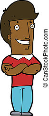 cartoon man with folded arms grinning
