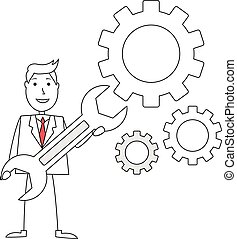 Cartoon man with gears and wrench