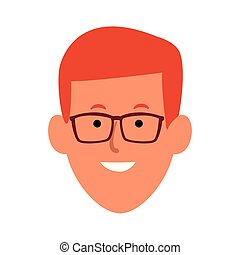 Cartoon man with glasses, flat design