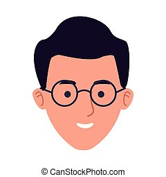 cartoon man with glasses icon, flat design